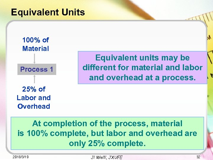 Equivalent Units 100% of Material Process 1 Equivalent units may be different for material