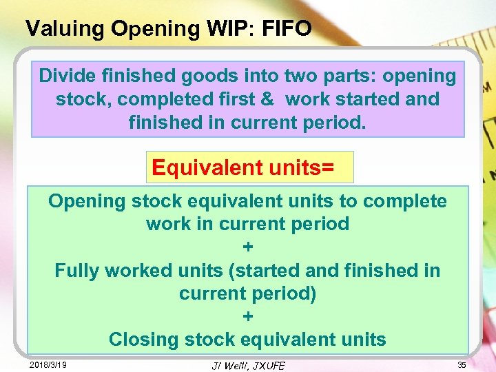 Valuing Opening WIP: FIFO Divide finished goods into two parts: opening stock, completed first