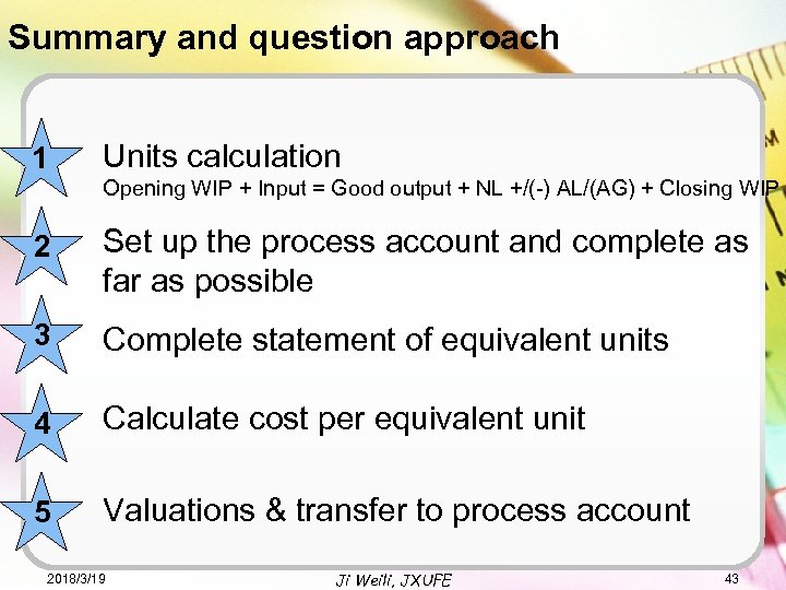 Summary and question approach 1 Units calculation Opening WIP + Input = Good output