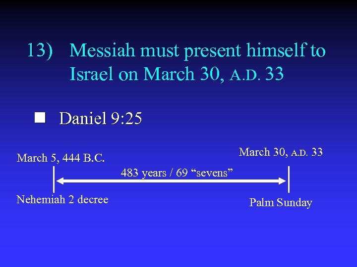 13) Messiah must present himself to Israel on March 30, A. D. 33 n