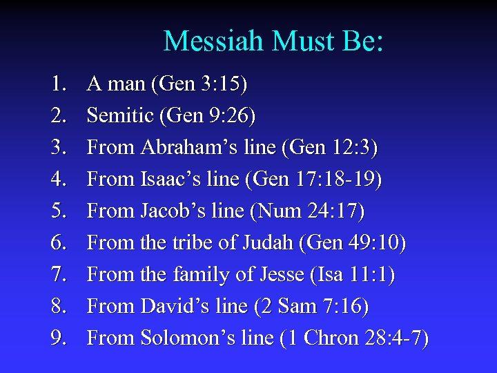 Messiah Must Be: 1. 2. 3. 4. 5. 6. 7. 8. 9. A man