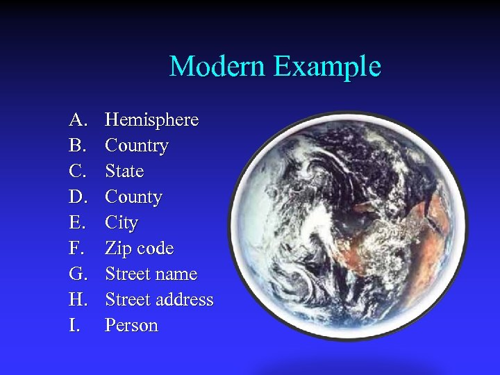 Modern Example A. B. C. D. E. F. G. H. I. Hemisphere Country State