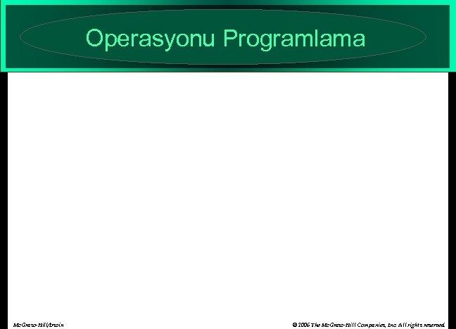 Operasyonu Programlama Mc. Graw-Hill/Irwin © 2006 The Mc. Graw-Hill Companies, Inc. All rights reserved.