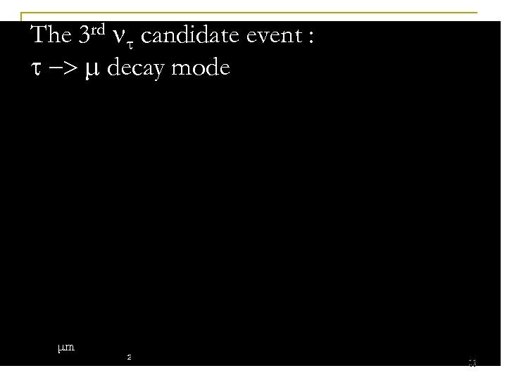 The 3 rd candidate event : -> decay mode μm 11 11