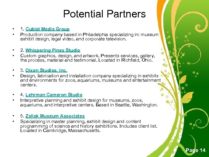 Potential Partners • • 1. Cubist Media Group Production company based in Philadelphia specializing