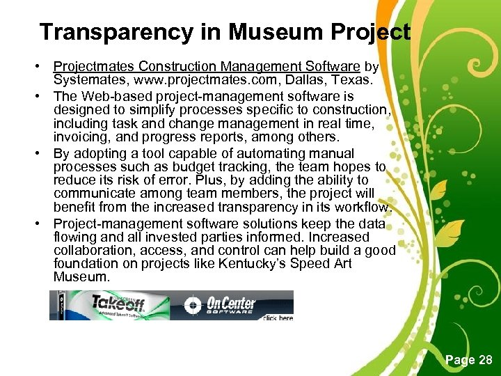 Transparency in Museum Project • Projectmates Construction Management Software by Systemates, www. projectmates. com,