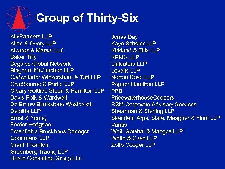 Group of Thirty-Six Alix. Partners LLP Allen & Overy LLP Alvarez & Marsal LLC