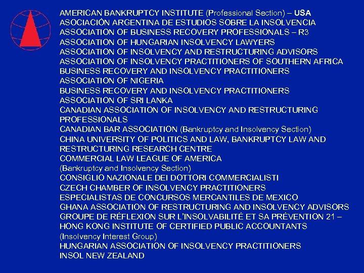 AMERICAN BANKRUPTCY INSTITUTE (Professional Section) – USA ASOCIACIÓN ARGENTINA DE ESTUDIOS SOBRE LA INSOLVENCIA