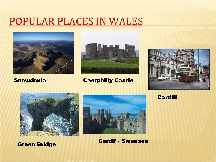 POPULAR PLACES IN WALES Snowdonia Caerphilly Castle Cardiff Green Bridge Cardif - Swanses