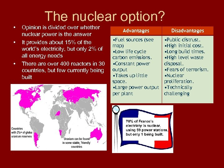The nuclear option? • • • Opinion is divided over whether nuclear power is