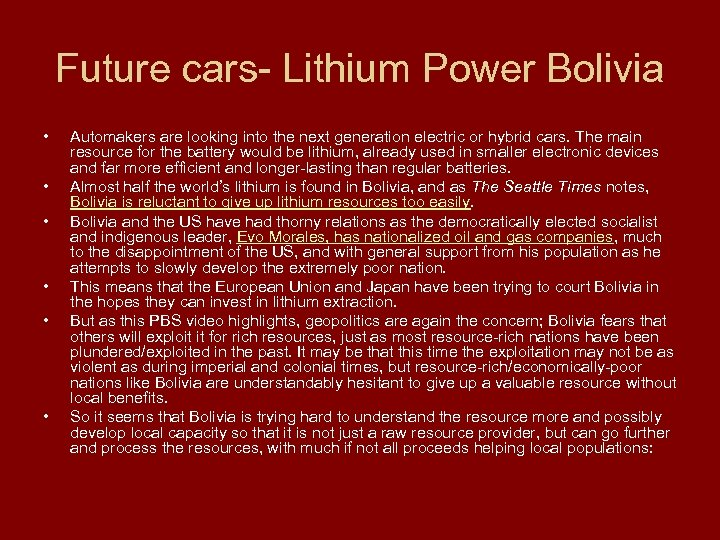 Future cars- Lithium Power Bolivia • • • Automakers are looking into the next