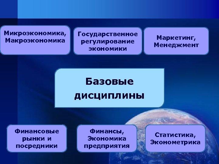 Микроэкономика, Макроэкономика Государственное регулирование экономики Маркетинг, Менеджмент Базовые дисциплины Финансовые рынки и посредники Финансы,