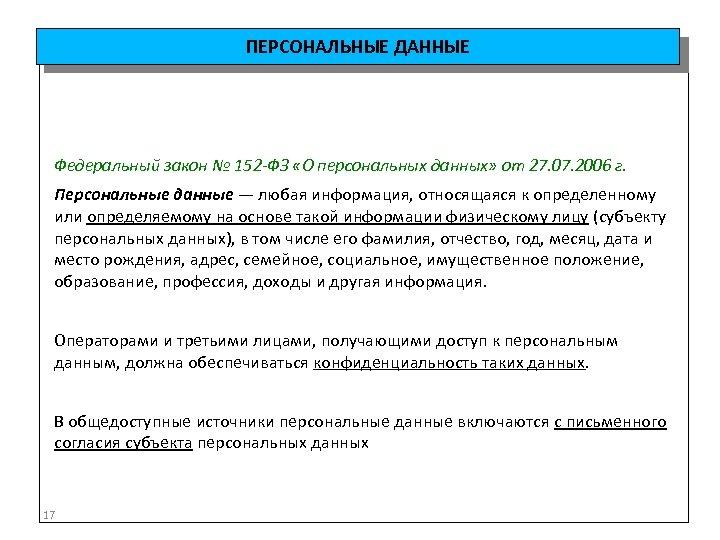 ПЕРСОНАЛЬНЫЕ ДАННЫЕ Федеральный закон № 152 -ФЗ «О персональных данных» от 27. 07. 2006