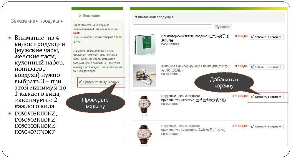 Заказанная продукция Внимание: из 4 видов продукции (мужские часы, женские часы, кухонный набор, ионизатор