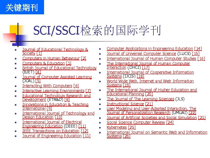 关键期刊 SCI/SSCI检索的国际学刊 n n n n Journal of Educational Technology & Society [1] Computers