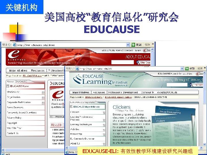 """关键机构 美国高校""""教育信息化""""研究会 EDUCAUSE-ELI: 有效性教学环境建设研究兴趣组"""