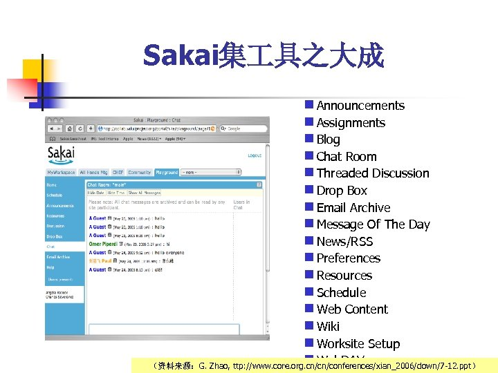 Sakai集 具之大成 n Announcements n Assignments n Blog n Chat Room n Threaded Discussion