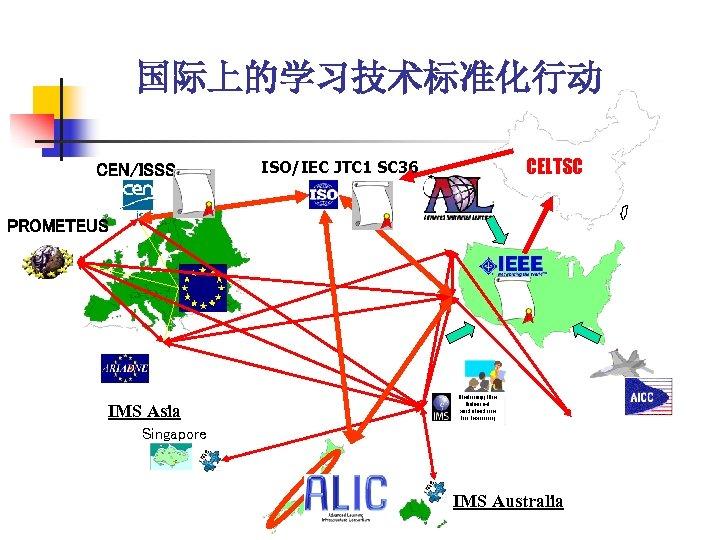 国际上的学习技术标准化行动 CEN/ISSS ISO/IEC JTC 1 SC 36 CELTSC PROMETEUS IMS Asia Singapore IMS Australia