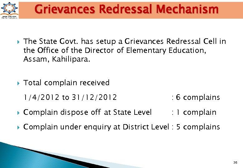 Grievances Redressal Mechanism The State Govt. has setup a Grievances Redressal Cell in the