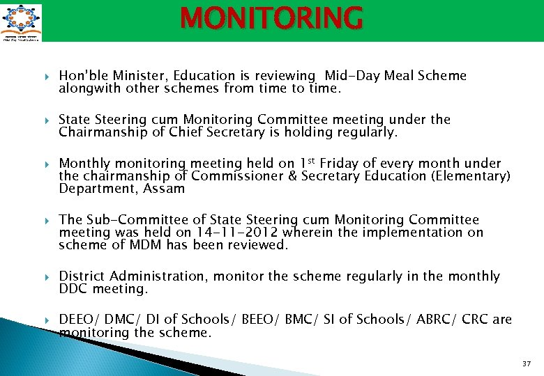 MONITORING Hon'ble Minister, Education is reviewing Mid-Day Meal Scheme alongwith other schemes from time
