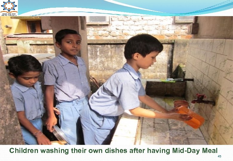 Children washing their own dishes after having Mid-Day Meal 45