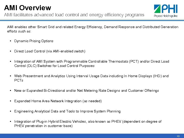 AMI Overview AMI facilitates advanced load control and energy efficiency programs AMI enables other
