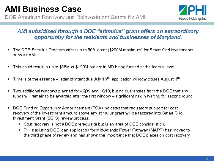 AMI Business Case DOE American Recovery and Reinvestment Grants for AMI subsidized through a