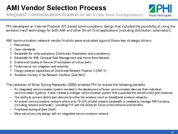 AMI Vendor Selection Process Integrated Communications Solution (for AMI & Other Smart Grid Applications)