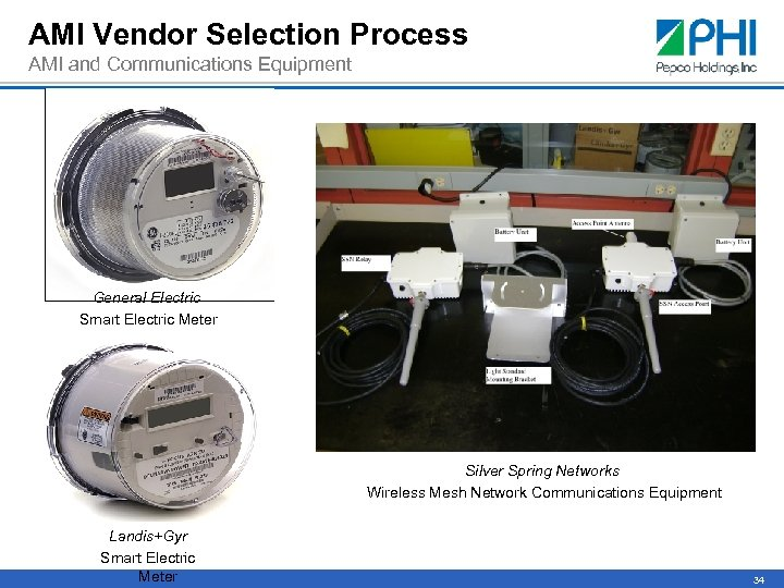 AMI Vendor Selection Process AMI and Communications Equipment General Electric Smart Electric Meter Silver