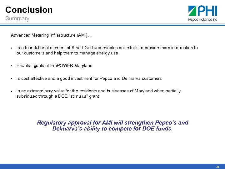 Conclusion Summary Advanced Metering Infrastructure (AMI)… • Is a foundational element of Smart Grid