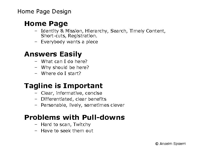 Home Page Design Home Page – Identity & Mission, Hierarchy, Search, Timely Content, Short-cuts,
