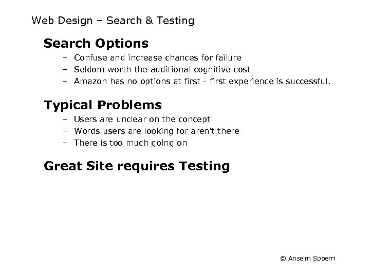 Web Design – Search & Testing Search Options – Confuse and increase chances for