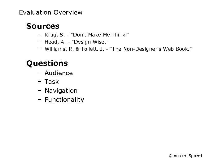 Evaluation Overview Sources – Krug, S. -