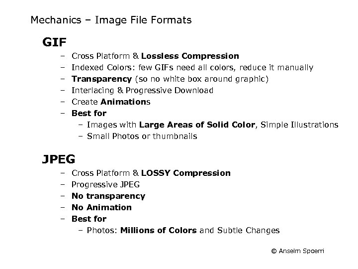 Mechanics – Image File Formats GIF – – – Cross Platform & Lossless Compression