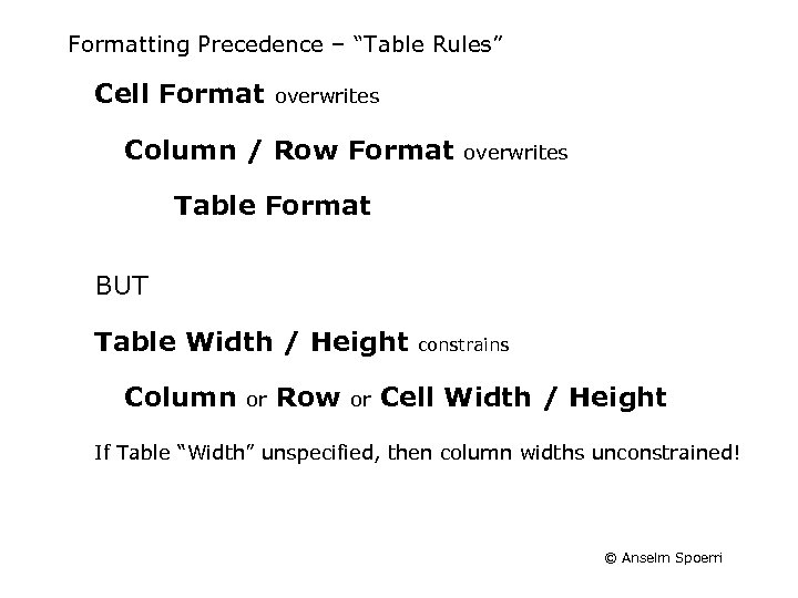 """Formatting Precedence – """"Table Rules"""" Cell Format overwrites Column / Row Format overwrites Table"""