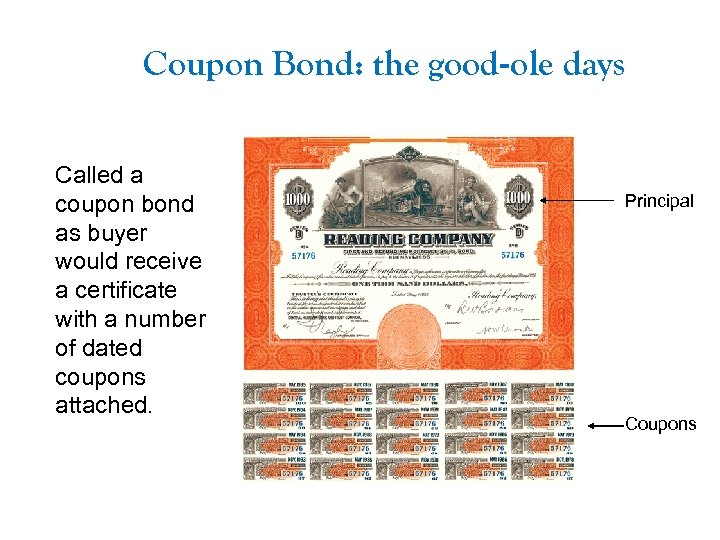Coupon Bond: the good-ole days Called a coupon bond as buyer would receive a