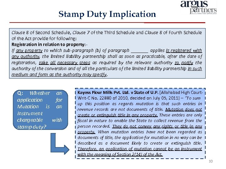 Stamp Duty Implication Clause 8 of Second Schedule, Clause 7 of the Third Schedule