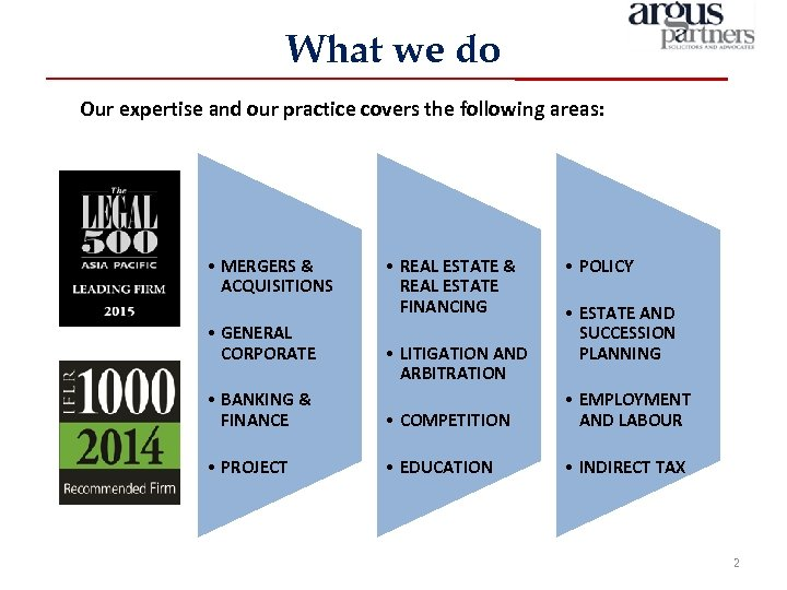 What we do Our expertise and our practice covers the following areas: • MERGERS