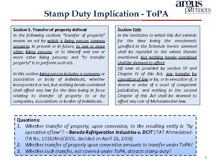 Stamp Duty Implication - To. PA Section 5. Transfer of property defined In the