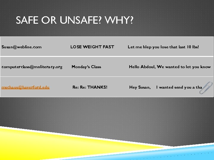 SAFE OR UNSAFE? WHY? Susan@webline. com LOSE WEIGHT FAST Let me hlep you lose