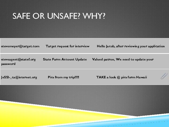 SAFE OR UNSAFE? WHY? stevemeyer@target. com steveagent@statef. org password Je. SSI _ca@internet. org Target