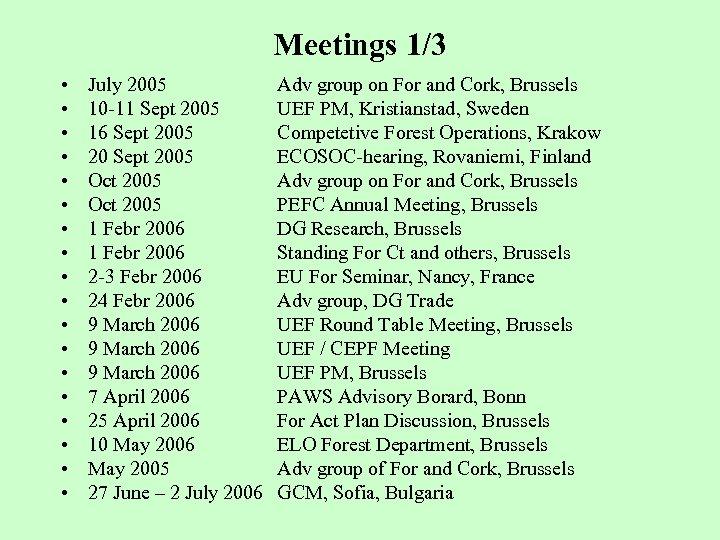 Meetings 1/3 • • • • • July 2005 10 -11 Sept 2005 16