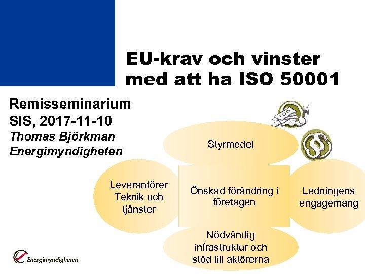 EU-krav och vinster med att ha ISO 50001 Remisseminarium SIS, 2017 -11 -10 Thomas