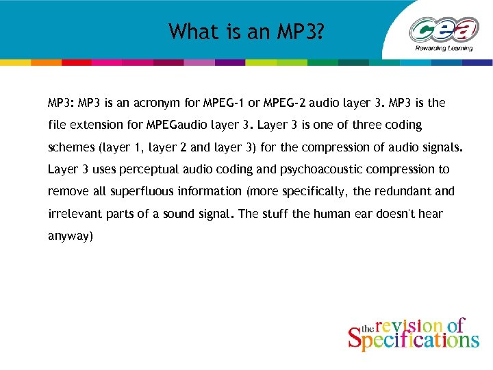 What is an MP 3? MP 3: MP 3 is an acronym for MPEG-1