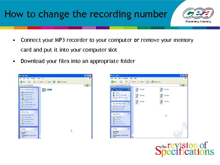 How to change the recording number • Connect your MP 3 recorder to your