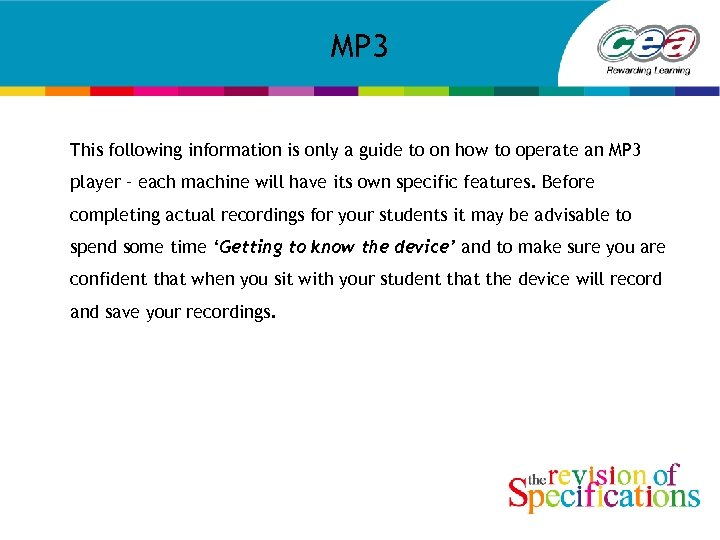 MP 3 This following information is only a guide to on how to operate