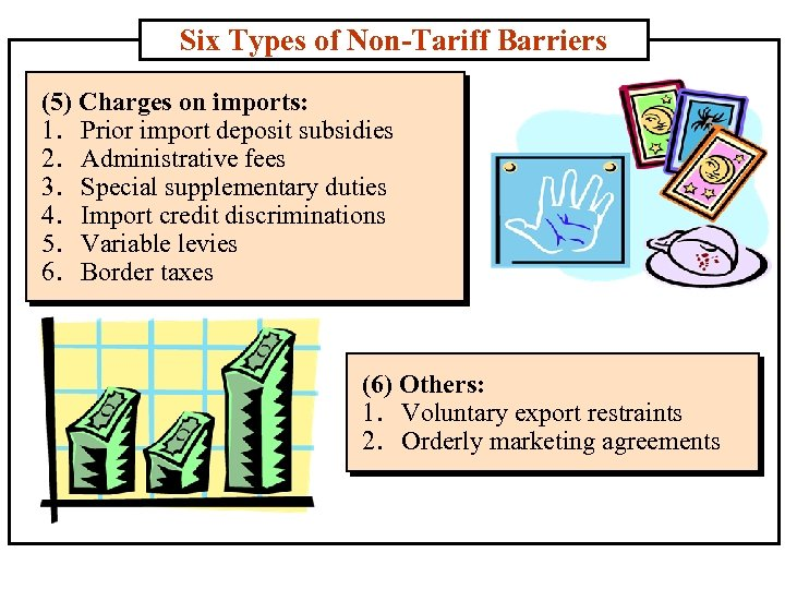 Six Types of Non-Tariff Barriers (5) Charges on imports: 1. Prior import deposit subsidies