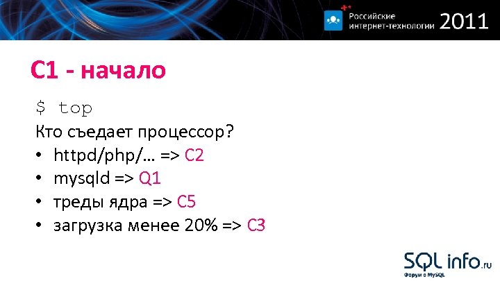 С 1 - начало $ top Кто съедает процессор? • httpd/php/… => С 2
