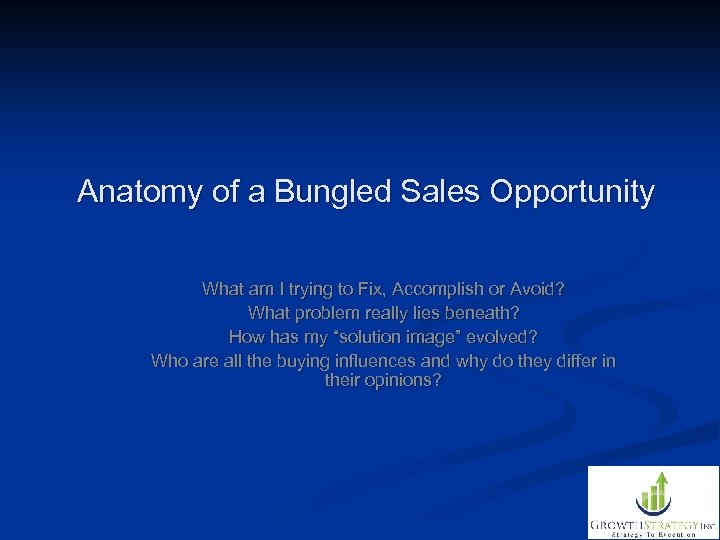 Anatomy of a Bungled Sales Opportunity What am I trying to Fix, Accomplish or