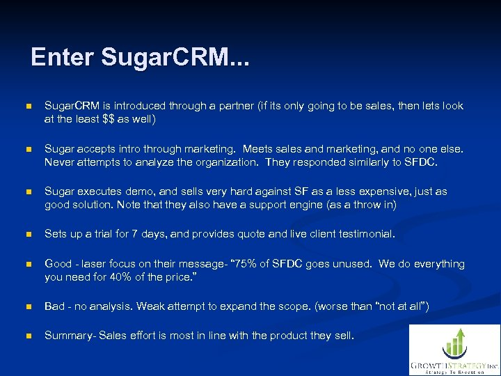 Enter Sugar. CRM. . . n Sugar. CRM is introduced through a partner (if